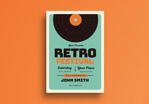 Retro Music Festival Flyer Layout with Vinyl Illustration