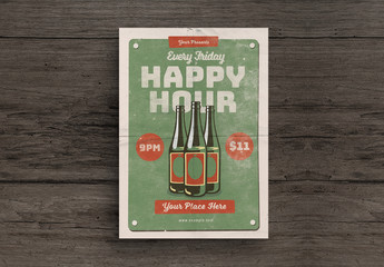 Happy Hour Flyer Layout with Beer Bottle Illustrations