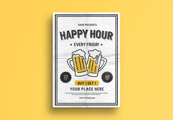 Happy Hour Flyer Layout with Beer Glass Illustrations