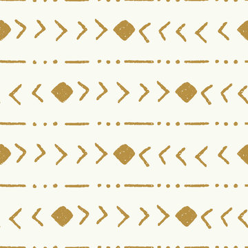 vector tribal stripe gold and cream seamless repeat pattern background