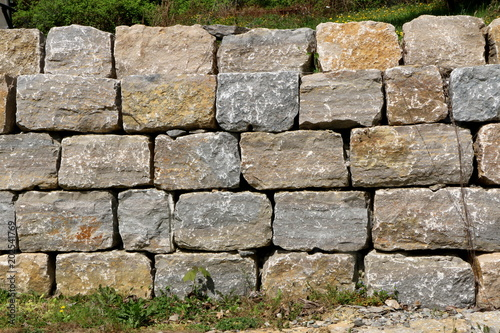Stone Wall Natursteinmauer Trockenmauer Mauer Stock Photo And