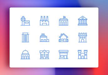 Buildings Minimalist Icons