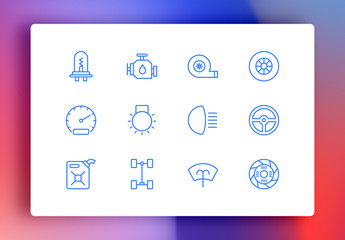Car Service Minimalist Icons