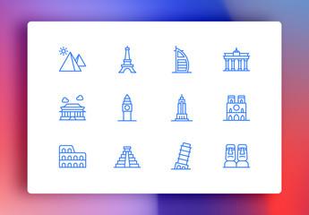 Landmarks Minimalist Icons