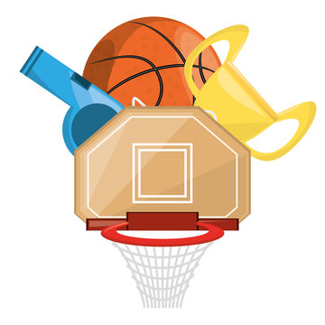 basketbal trophy and win the competition game, vector illustration