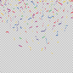 Bright confetti, Colorful and isolated on a transparent background. Festive vector illustration