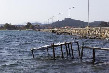 perspective view of sea shore at aegean sea