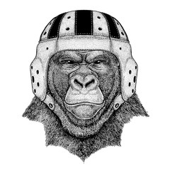 Cool animal wearing rugby helmet Extreme sport game Gorilla, monkey, ape Frightful animal Hand drawn image for tattoo, emblem, badge, logo patch