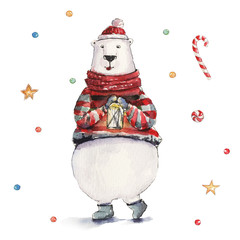 Watercolor Christmas illustration with white polar bear