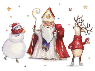 Watercolor Christmas illustration with St Nicholas, snowman and deer