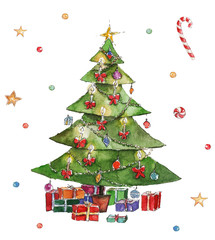 Watercolor Christmas illustration with Christmas tree, presents and decoration