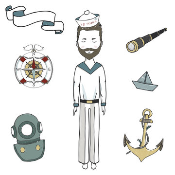 Sea man, captain men, clip art vector ancor spyglass ribbon ship young sailor drawing illustration for celebration the bearded captain the bearded sailor on white background