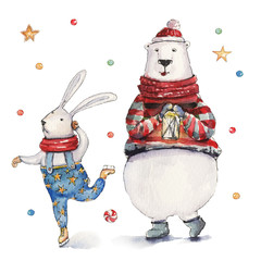 Watercolor Christmas illustration with polar bear and bunny