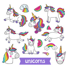 Lovely vector set of illustrations of the funny unicorn. Cute magic animal mascot. Bright rainbow colors. Perfect for products for children.