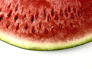 Close up of a watermelon slice isolated on a white background