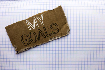 Text sign showing My Goals. Conceptual photo Goal Aim Strategy Determination Career Plan Objective Target Vision written on tear Cardboard Piece on the Check background.