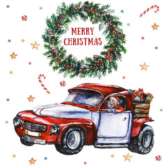 White card with Christmas wreath, berries and Santa's car packed with presents. Watercolor hand-painted illustration. Christmas cards. Winter design. Merry Christmas!