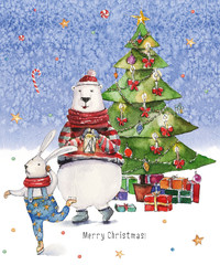 Watercolor Christmas illustration with Christmas tree, presents, colorful bear and ski dancing hare on icy-blue watercolor background. Christmas cards. Winter design. Merry Christmas!