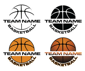 Estores personalizados de deportes con tu foto Basketball Designs With Team Name is an illustration is an illustration of a four versions of a basketball design that can be used for t-shirts, flyers, ads or anything else.