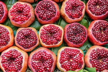 Group of half pomegranates