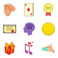 Grant icons set. Cartoon set of 9 grant vector icons for web isolated on white background