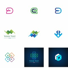 logo set design for business, symbol, abstract and decoration