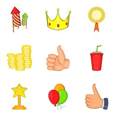 Win payment icons set. Cartoon set of 9 win payment vector icons for web isolated on white background