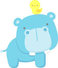 cute hippo and little bird isolated on white background. flat design for baby and children