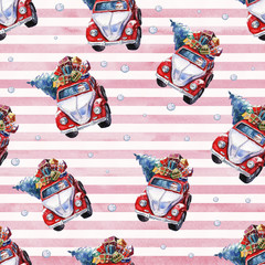 Watercolor hand drawn Christmas seamless pattern with red Santa car, snowballs, Christmas tree and presents on pink-striped background