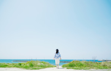 Wall Mural - 女性 夏 海