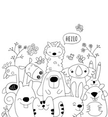 Vector illustration of Doodle cute animal background ,cartoon sk