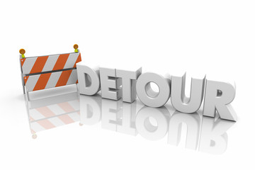 Detour Barricade Road Construction New Route Word 3d Illustration
