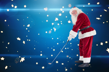Santa Claus is playing golf  against bright star pattern on blue