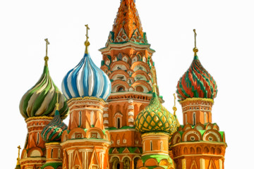 Fototapete - brush strokes painting of St Basil's Cathedral, Moscow, Russia, isolated on white backgroud.