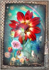 Canvas Prints Imagination Collage patchwork surreale con fiori tropicali,garofani,acobaleno,stelle e fiocchi di neve