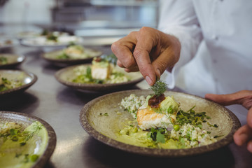 Mid section of male chef garnishing appetizer in plate