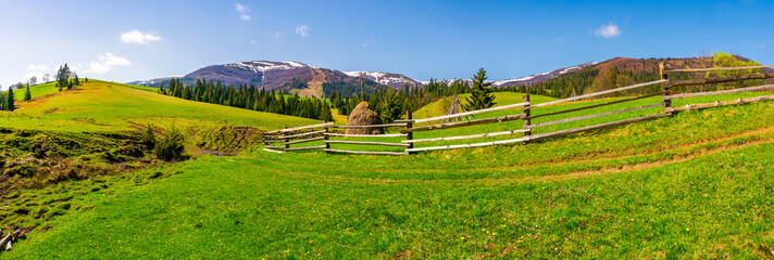 panorama of mountainous rural area. fence along the path on a grassy hill. beautiful landscape with Borzhava mountain ridge in the distance in springtime