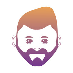 cartoon man with beard over white background, colorful design. vector illustration