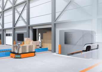 Industrial robot unloading parcels from semi truck, Automatic Guided Vehicle carrying set of pallets to the robot position. 3D rendering image.