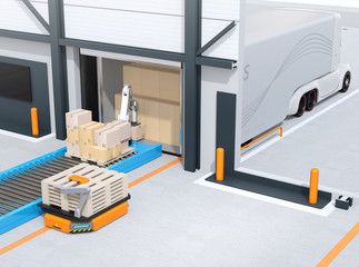Industrial robot unloading parcels from semi truck, Automatic Guided Vehicle carrying set of pallets to the robot position. Cutaway view. 3D rendering image.