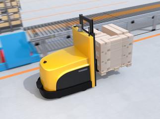 Autonomous forklift carrying pallet of goods in modern logistics center. 3D rendering image.