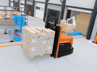Autonomous forklift carrying pallet of goods in modern logistics center. 3D rendering image.