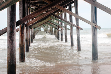 The Pier at Ocean Isle Beach North Carolina during high tide