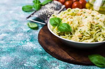 Traditional Italian pasta with pesto