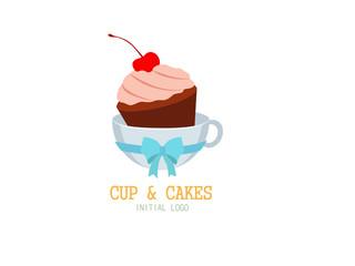 cupcakes initial logo vector illustator