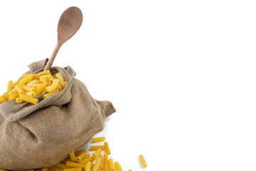 High angle view of raw pasta in sack
