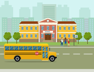 City street panoramic.Kids group and school building isolated. Vector flat style illustration