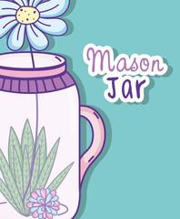 Garden mason jar cartoon