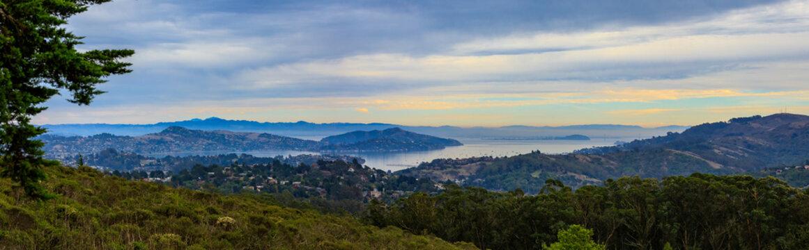Fog rolling in around San Francisco Bay in California