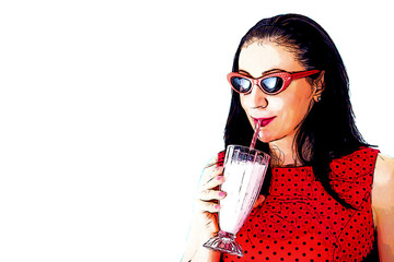 Frozen drink and dessert concept, woman in red polka dot dress drinks a milkshake, pop art retro illustration that looks like a vintage halftone comic book isolated on white with clipping path cutout